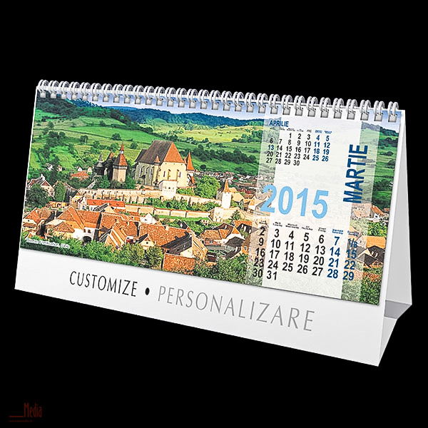 Calendar birou 23x11cm,Romania,12f,2015
