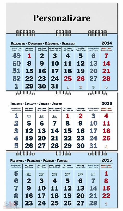 Calendar perete40x60cm,12f,Pliabil,2015