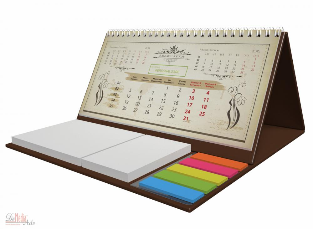 Calendar birou,notite repoz,Vintage,maro