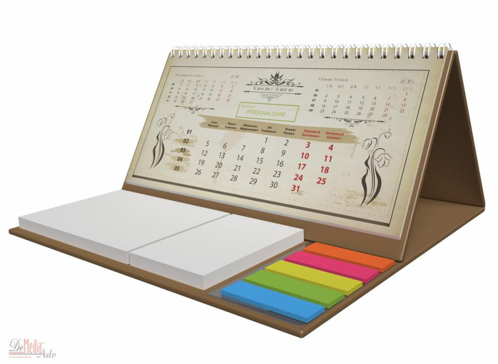 Calendar birou,notite repoz,Vintage,auriu 2015