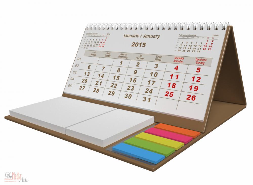 Calendar birou,notite repoz,Clasic,auriu