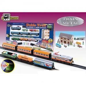 Set 2 trenuri,marfa,pasageri,lumini,gara