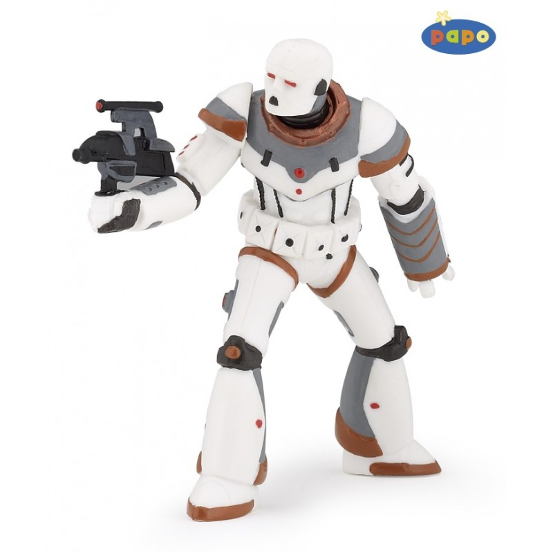 Figurina Papo,razboinic ironbot,alb