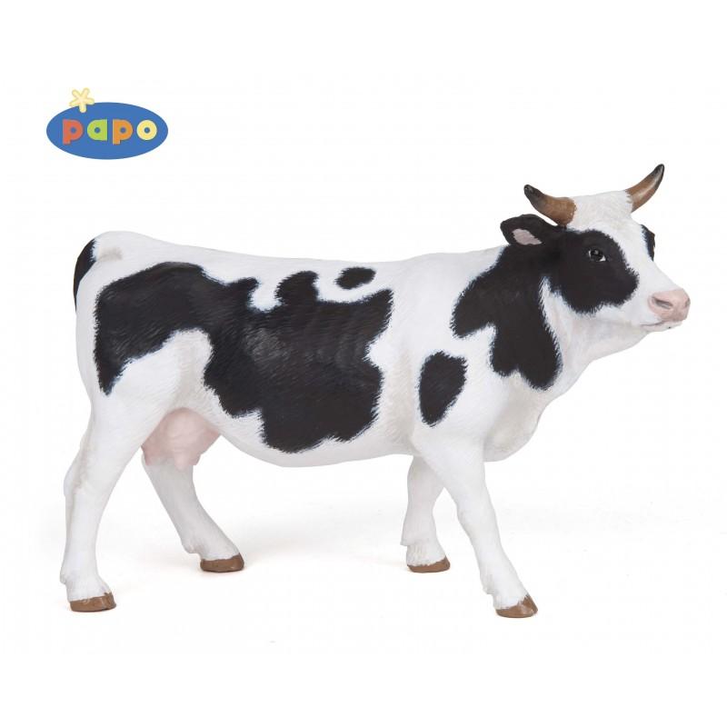 Figurina Papo,vaca alba cu negru