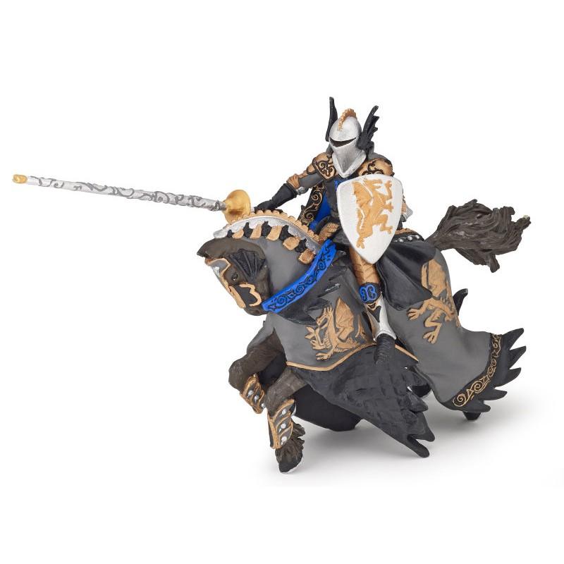 Figurina Papo,print dragon negru si cal
