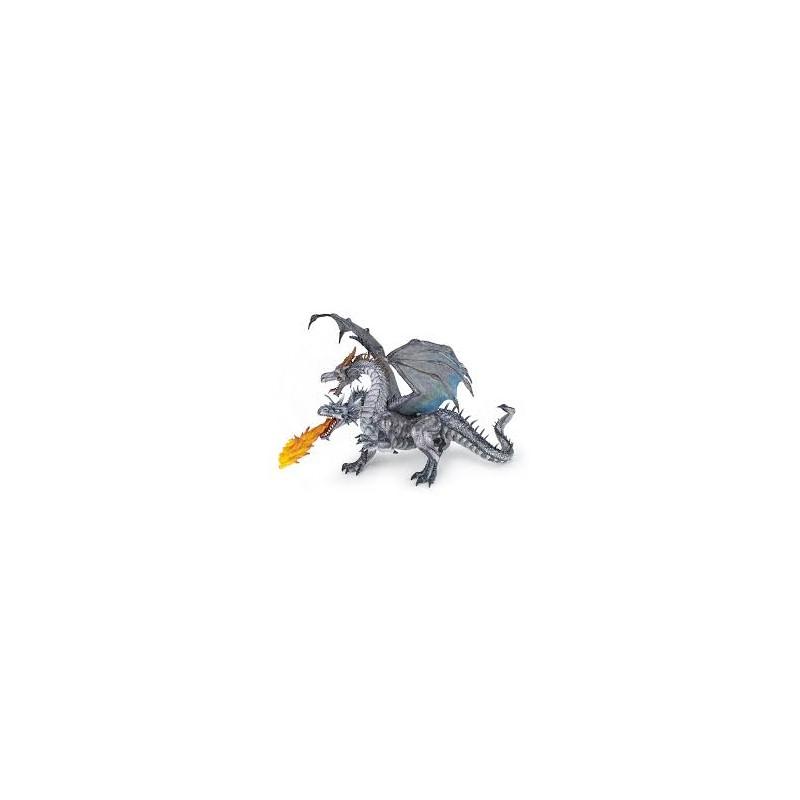 Figurina Papo,dragon argint 2 capete