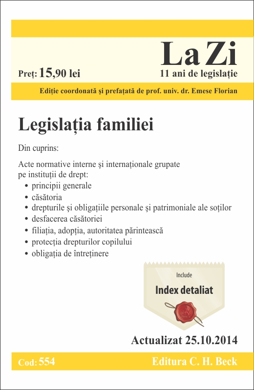 LEGISLATIA FAMILIEI LA ZI COD 554 (ACT 25.10.2014)