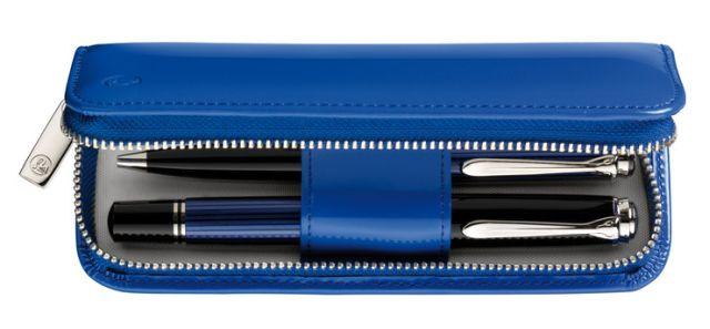 Etui piele,2 instrumente,TG184,albastru lacuit