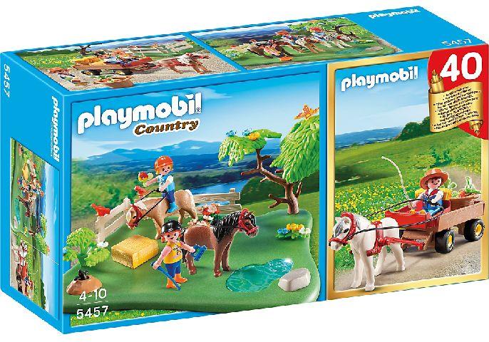Playmobil-Ponei la pasune si caruta