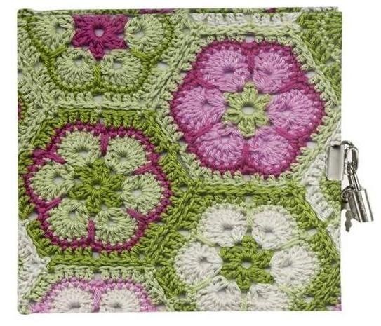 Jurnal 16.5x16.5cm,48f,velin,Granny Squares,verde