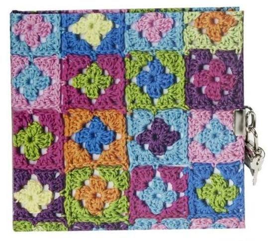 Jurnal 16.5x16.5cm,48f,velin,Granny Squares,culori vii