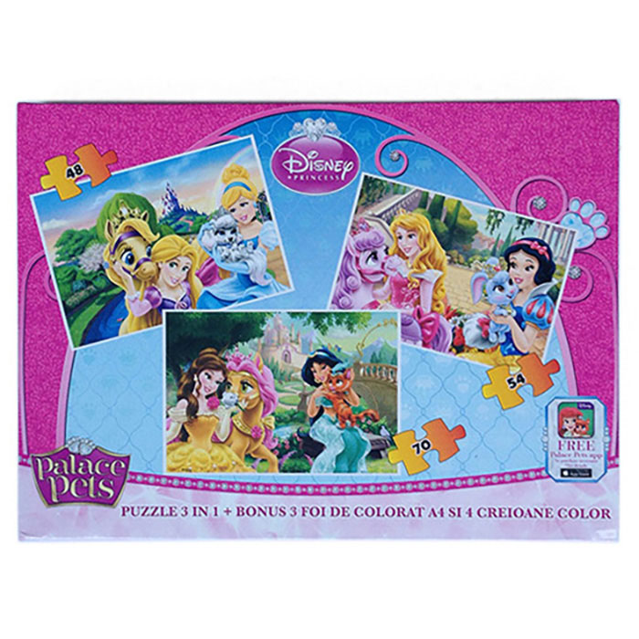 Puzzle 3buc/set,coloriaj,Princess