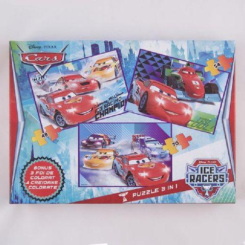 Puzzle 3buc/set,coloriaj,Cars