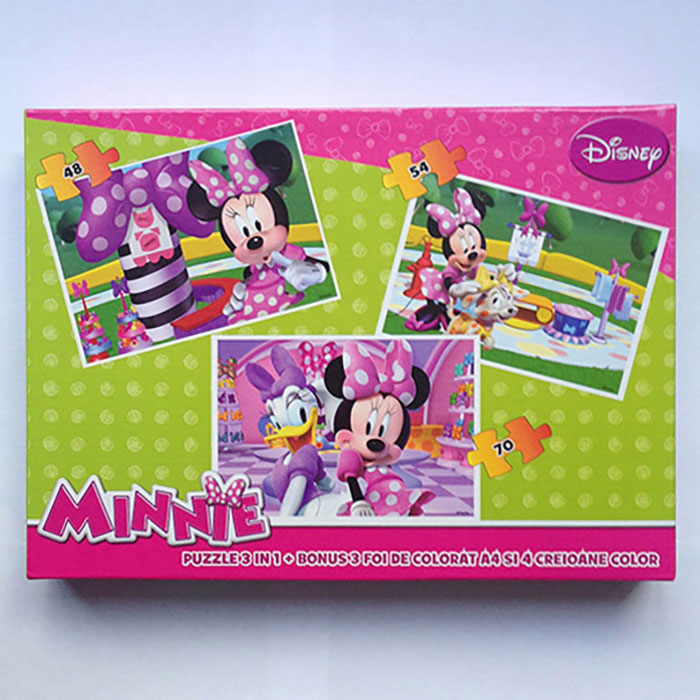 Puzzle 3buc/set,coloriaj,Minnie
