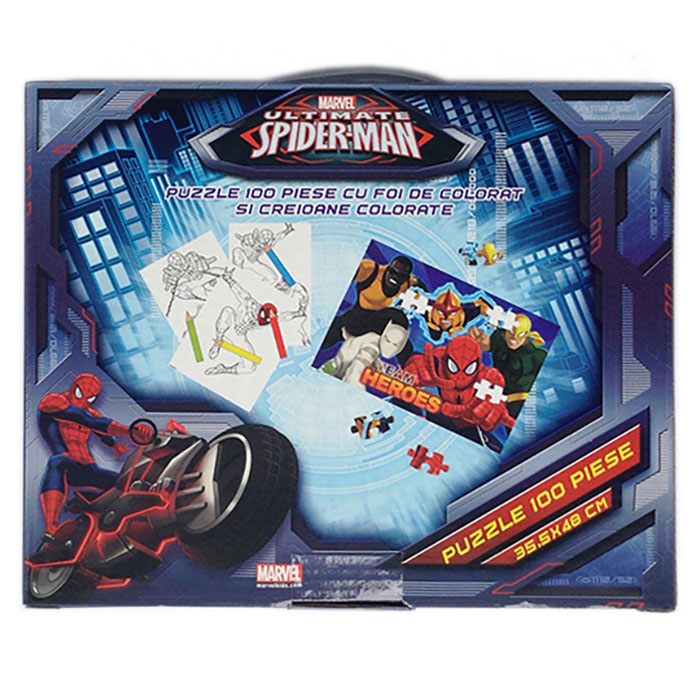 Puzzle 100pcs,coloriaj,servieta,Spiderman