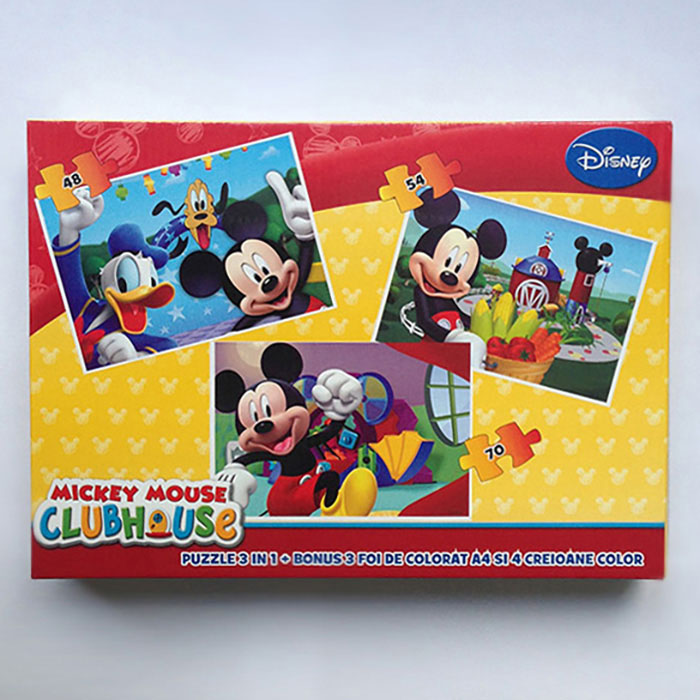 Puzzle 3buc/set,coloriaj,Mickey