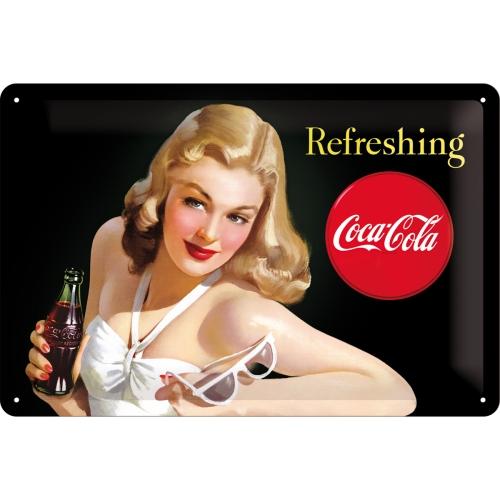 Placa 20x30 Coca-Cola - Refreshing Lady