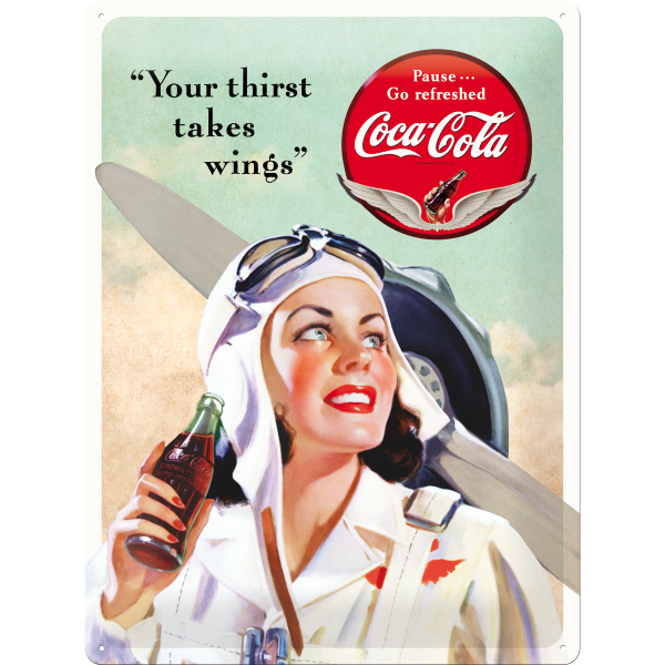 Placa 30x40 Coca-Cola - Takes Wings Lady