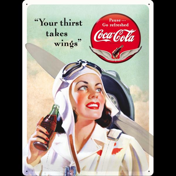 Placa 30x40 Coca-Cola - Takes Wings Lady