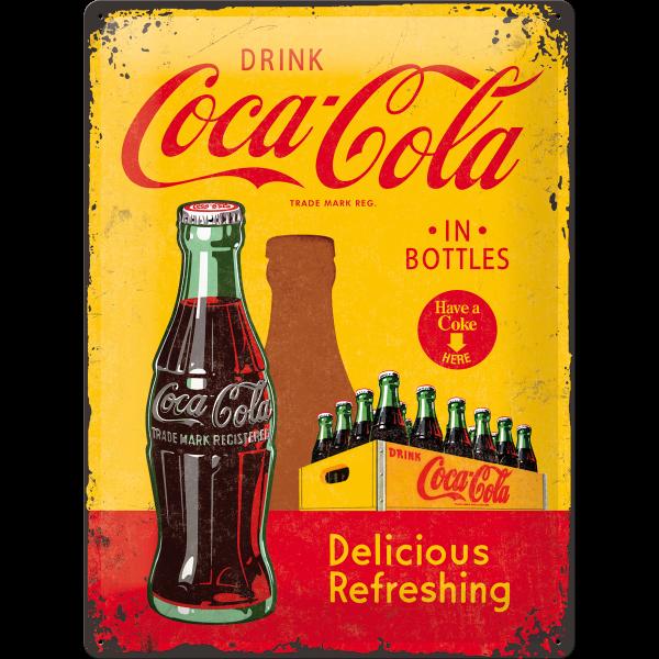 Placa 30x40 Coca-Cola - In Bottles Yellow