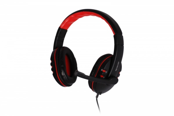 CASCA SPACER cu microfon, stereo, jack 3.5mm, gaming, red & black
