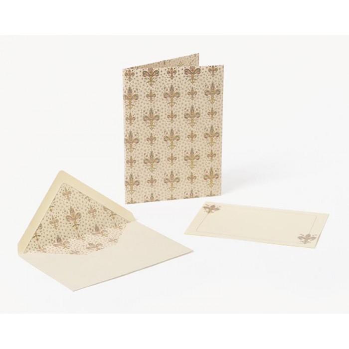 Set 10 plicuri si cartonase cu fir aur LILIUM, 13.5x19cm