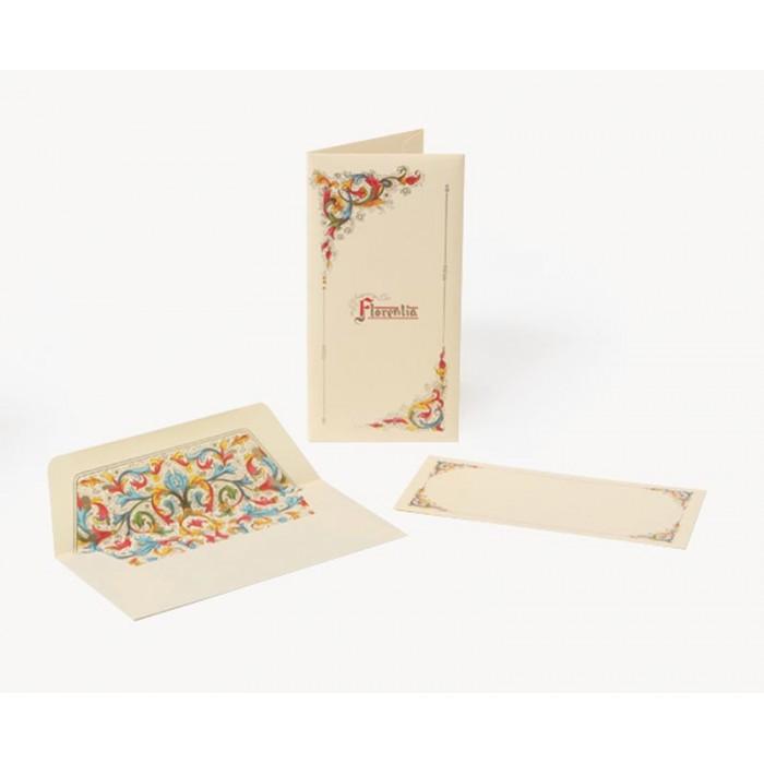 Set 10 plicuri si cartonase cu fir aur MEDICEA, 10x19.5cm