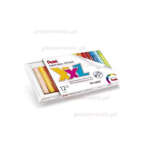Creioane cerate Pentel XXL,12culori/set