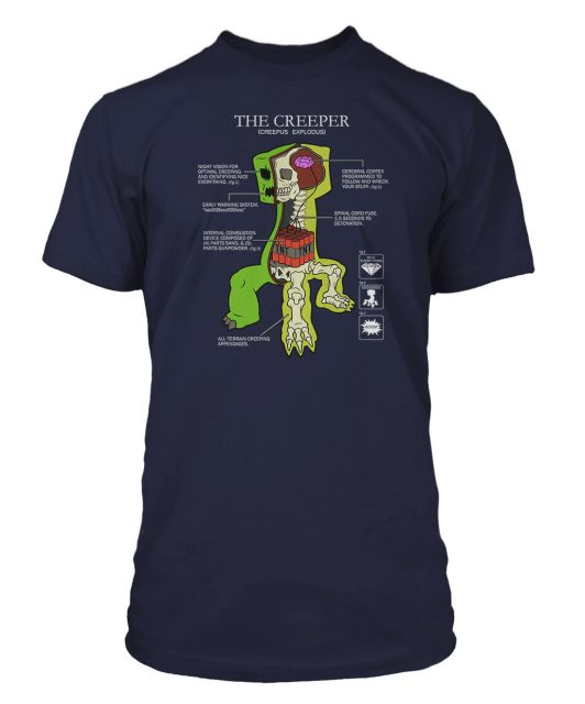 Minecraft Premium T-Shirt Creeper Anatomy Size S