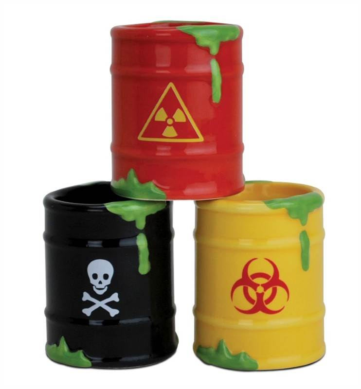 Shot glass set 3pcs Toxic Waste