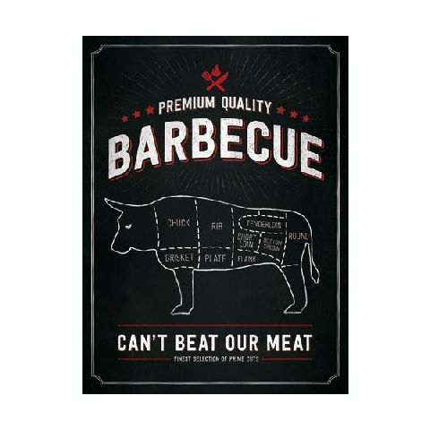 Placa 30x40 23199 Barbecue Bull