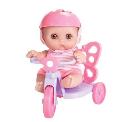 Papusa 21 cm,in tricicleta, JC Toys