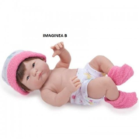 Papusa bebe,hainute fucsia,24cm,JC Toys