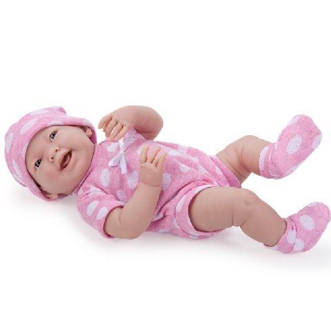 Papusa nou-nascut,fata,costum buline,roz,38cm,JC Toys