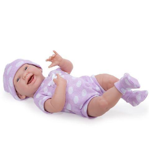Papusa nou-nascut,fata,costum buline,mov,38cm,JC Toys