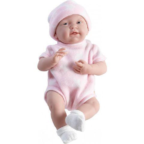 Papusa nou-nascut,fata,costum roz,38cm,JC Toys
