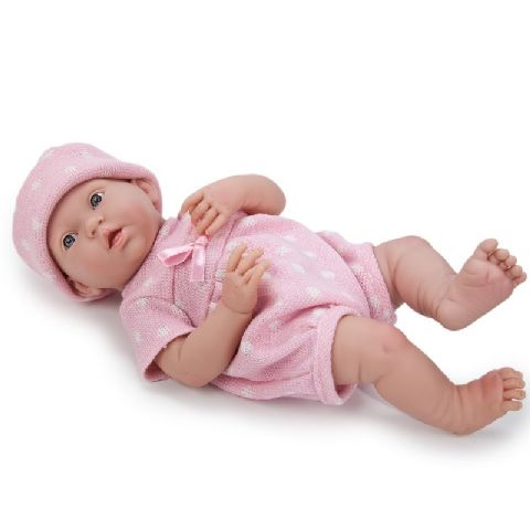 Papusa bebe,fata,costum tricotat,roz,38cm,JC Toys