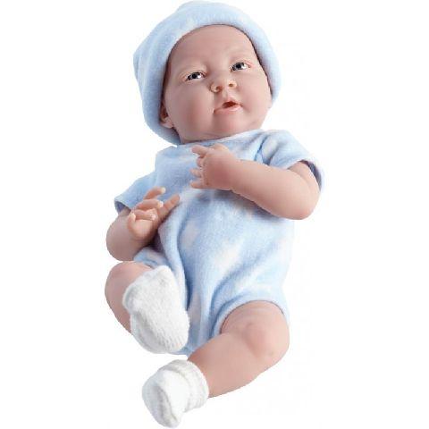 Papusa nou-nascut,baiat,costum bleu,38cm,JC Toys