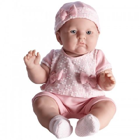 Papusa bebe,Lily,rochie roz,46cm,JC Toys