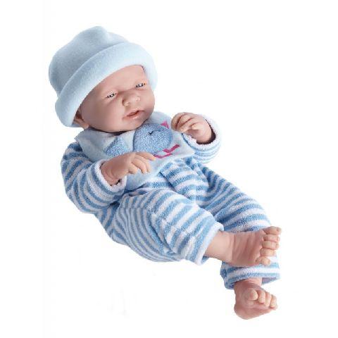 Papusa bebe,baiat,costum dungi,bleu,43cm,JC Toys