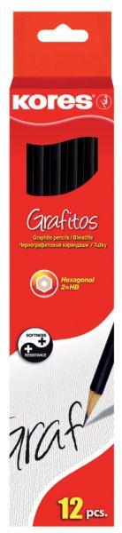 Creion grafit Kores HB,cu radiera,12/set