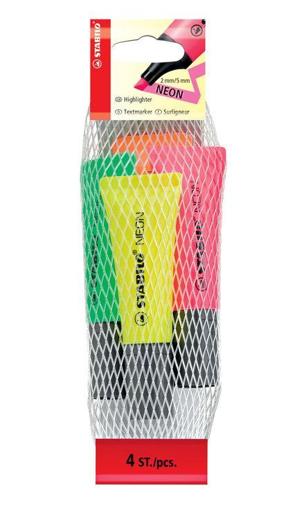Textmarker Stabilo Neon, 4buc/set