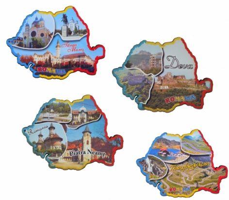 Magnet harta Romaniei, imagini oras, 10x7cm