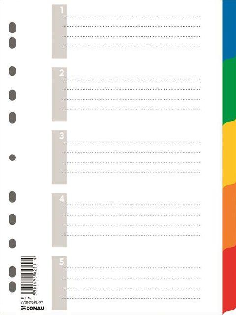 Separatoare plastic A4,index color 1-5