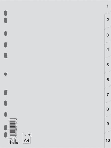 Separatoare plastic A4,gri,index 1-10