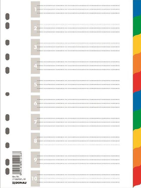 Separatoare plastic A4,index color 1-10