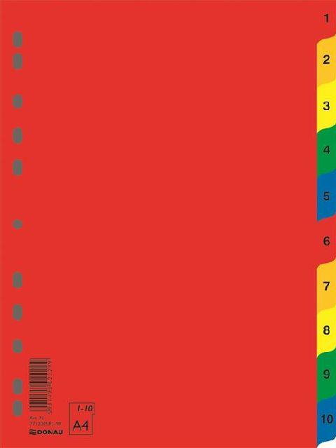Separatoare plastic A4,colorate,index 1-10