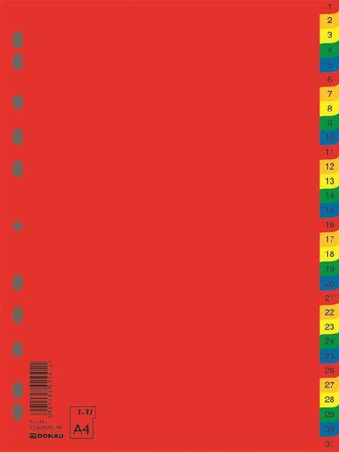 Separatoare plastic A4,colorate,index 1-31