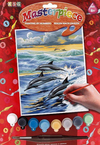 Tablou Picteaza pe numere Delfini,junior