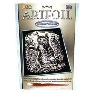 Set gravura pe folie argintie Pisicuta